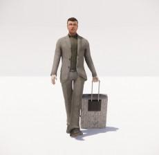 拖着行李箱的男人_046_室内设计模型