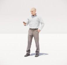 看着手机的男人_032_室内设计模型