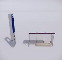 公交车站-现代公交车站-52
